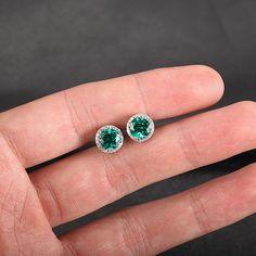 7mm Round Emerald Earrings 14K Gold Diamond Earrings, Aquamarine/Peridot/Topaz/Amethyst/Citrine/Garnet/Smoky Quartz Available