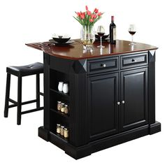 Breakwater Bay Plumeria Kitchen Island With Stools & Reviews | Wayfair