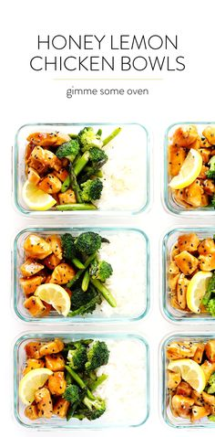 These Honey Lemon Chicken Bowls are one of my favorite healthy lunch or dinner meal prep ideas. They're quick and easy to prepare, made with an Asian honey lemon garlic sesame sauce, fresh asparagus and broccoli (or any vegetables), rice or quinoa. And they are delicious and naturally gluten-free!   gimmesomeoven.com