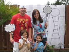 Superhero photo props - get a whiteboard and cut it into the shape of a thought or speech bubble, each child can think of their own super greeting to say. This could make for a funny post party slideshow.