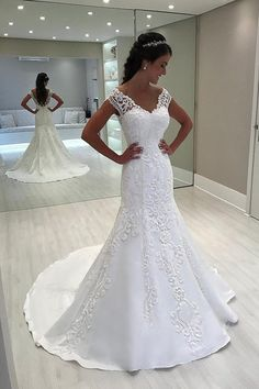 Buy 2018 mermaid tulle off the shoulder wedding dresses with applique sweep train Online Long Gown For Wedding, Western Wedding Dresses, Classic Wedding Dress, Princess Wedding Dresses, Plus Size Wedding, Perfect Wedding Dress, Wedding Party Dresses, Bridal Dresses, Event Dresses