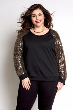 Plus Size Clothing for Women - Jessica Kane Sequined Plus Size Sweater - Black and Gold (Sizes 14 - 20) - Society Plus