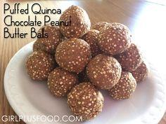 Puffed Quinoa Chocolate Peanut Butter Balls! #quinoa #GirlPlusFood