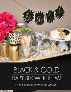 Sophisticated Black and Gold Baby Shower Theme - Perfect for Gender Neutral Shower! #MomsTrustHuggies #ad