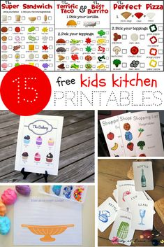 15 FREE Kids Kitchen Printables - to encourage learning about healthy eating and facilitate pretend play! Everything from vocabulary cards to play dough mats! Preschool Cooking, Cooking With Kids, Kids Cooking Activities, Play Based Learning, Preschool Activities, Dramatic Play Centers, Vocabulary Cards, Play Centre, Play Food