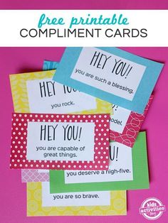 eaching my children kindness is really important to me.  The best way to do that is to lead by example, which is something I am constantly reminding myself.  I also love finding little activities that help them to show kindness to others without spending money.  I came up with these smile it forward compliment cards for a fun way to remind them that small things matter and kind words are important.  It's also wonderful to teach them that their actions can even influence a total stranger.