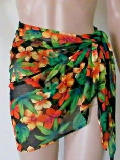 101ec6674d0 Details about Swim Systems Sarong Cover Up One Size Floral Hawaiian Wrap  Skirt - Details about