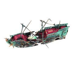 Sunk Wreck Boat Aquarium Ornament Ship Sailing Boat Destroyer Air Split Shipwreck Fish Tank Cave Decor #clothing,#shoes,#jewelry,#women,#men,#hats,#watches,#belts,#fashion,#style