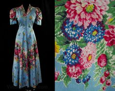 Size 10 Blue Garden Party Print 1940s Dress by vintagevixen
