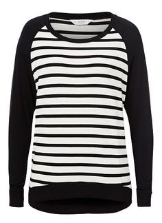 Comfortbale fitting silhouette features a rib scoop neck, raglan sleeves with front and back body stripe with dipped hem. Available in various colours as shown. Seed Heritage, Clothes For Women, Sweatshirts, Tees, Sleeves, Sweaters, Scoop Neck, How To Wear, Silhouette