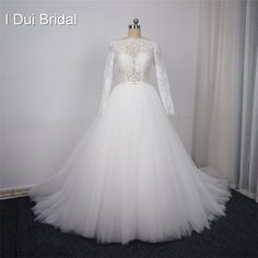 [Click image to buy!] Long Sleeve Lace Wedding Dresses Many Tulle Layer High Quality Eyelash Lace Factory Real Photo * Shop 4 Xmas n 2018. Find similar beautiful pieces on  AliExpress.com. Just click the image. #Jewelry