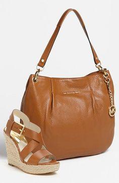 MICHAEL Michael Kors 'Bedford' Shoulder Bag & 'Giovanna' Wedge Sandal  available at #Nordstrom