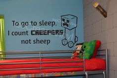 Minecraft Decal To Go To Sleep I Count Creepers by IceCreamVinyl, $20.00
