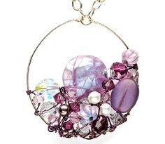 Fantasy Pearl Pendant wire, pearls, beads, and gems hoop pendant By Julie D'Amico-Beres - from Pearl Bracelet, Pearl Earrings, Pearl Pendant! Download 3 DIY Pearl Jewelry Projects You Have to Try