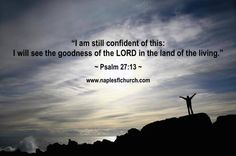 """I am still #confident of this: I will see the #goodness of the #LORD in the land of the living."" ~ Psalm 27:13"