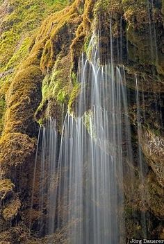 Schleierfälle, Bad Bayersoien, Bavaria, Germany, Kreut, flowing water, moss, mossy rocks, rocks, waterfalls