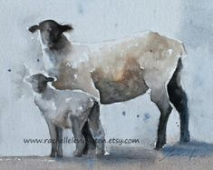 for her sheep painting sheep art print sheep print lamb painting watercolour painting religious artwork ATC traditional black SMALL