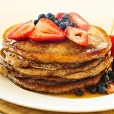 Jillian Michael's multigrain pancakes with Berry-maple syrup