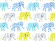 Elephants Organic Cotton in Blue