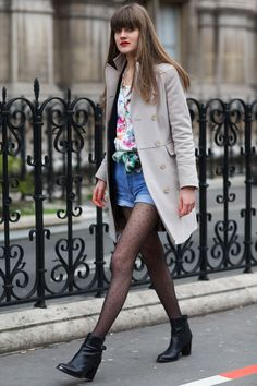 Shorts and tights is a transitional weather look we can certainly get behind, especially when the legwear is polka-dotted.