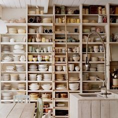 I could have this many dishes if I had these shelves. I love dishes and interior design decorating room design design ideas kitchen design Kitchen Shelves, Kitchen Pantry, Kitchen Storage, Dish Storage, Organized Kitchen, Open Pantry, Rustic Kitchen, Kitchen Ideas, Kitchen Decor