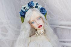 Navy Sky flower crown handmade headband headdress headwear