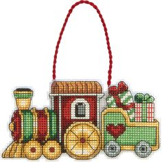 """Dimensions Susan Winget Train Ornament Counted Cross Stitch Kit-3-3/4""""X2-1/4"""" 14 Count Canvas"""