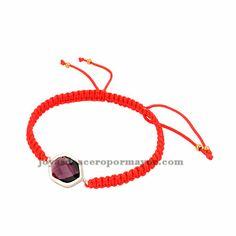 pulseras tejidas moda en color rojo con piedra violeta para mujer ACBTG00019
