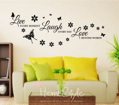 LIVE, LAUGH, LOVE WALL DECALS STICKERS   ART   HOME DECOR   FREE UK POST   150