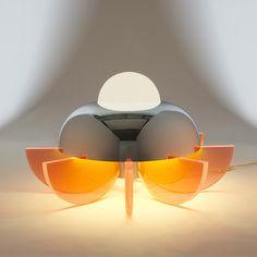 Sergio Asti; Chromed Brass and Acrylic 'Supernova' Table Lamp for Bilumen, 1971.