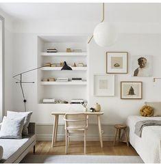 38 Small Home Office Inspiration with Scandinavian Style Interior Design Minimalist, Minimalist Decor, Home Interior Design, Minimalist Office, Modern Interior, Home Office Design, Home Office Decor, House Design, Office Ideas