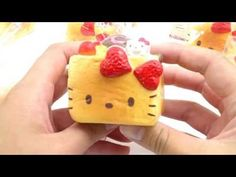 cute Hello Kitty honey toast strawberry ice cream squishy charm cellphone charm  - Food Squishies - Squishies - kawaii shop modeS4u