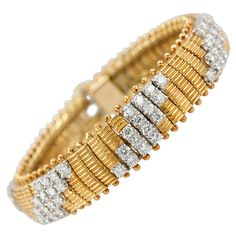 1960s Flexible Diamond Gold Link Bracelet | From a unique collection of vintage link bracelets at https://www.1stdibs.com/jewelry/bracelets/link-bracelets/