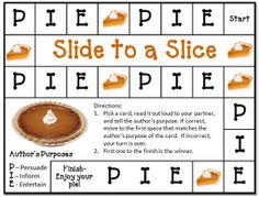Author's Purpose - Slide to a Slice Game
