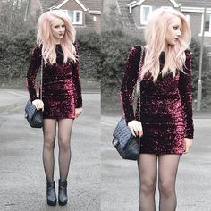 Sammi Jackson - Society Of Chic Sequin Dress, Chanel Vintage Bag, Topshop Alexy Boots - VALENITINE'S DAY OUTFIT
