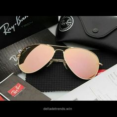 f86b6addd82 Ray-Ban Gold with Pink Trim Aviator Sunglasses These Ray-Ban Sunglasses are  flawless! They are like new