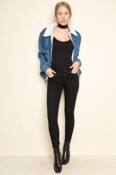 Brandy ♥ Melville   Anri Fur Denim Jacket - Outerwear - Clothing