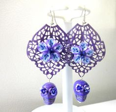 Sugar Skull Earrings Day of the Dead Purple by sweetie2sweetie, $12.99