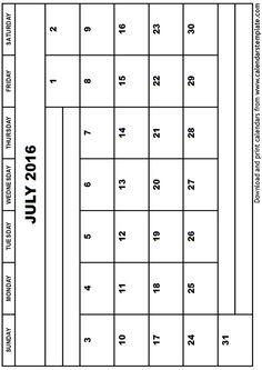 July 2016 Calendar Free Printable
