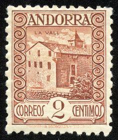"Andorra 1937 Scott 25 2c red brown ""La Vall"""