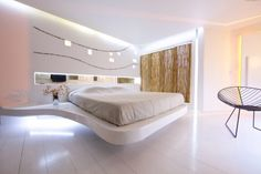 Space age bedroom space, super comfortable and luxurious.  Andronikos #Hotel Interiors  #KlabArchitecture