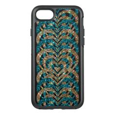 #gold - #Turquoise & Gold Glitter Spiral Vortex Hearts - OtterBox Symmetry iPhone 7 Case