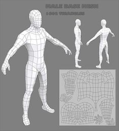 Human Male base mesh, Perfect as base mesh for sculpting or to use directly as a low poly character. Arms and legs have mirrored UV to get more resolution. Male Character, Character Modeling, Character Design, Maya Modeling, Modeling Tips, Male Base, 3d Design, Game Design, Modelos Low Poly