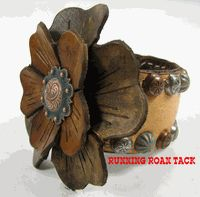 Buckskin Leather Cuff Bracelet with Hand Dyed Leather Flowers by Running Roan Tack