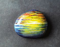 Painted Rock Stone Paperweight with sunset tropical by DreamRelic, $20.00