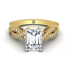Emerald-cut Engagement Ring With Pave Infinity Millgrained Shank In 14k Yellow Gold