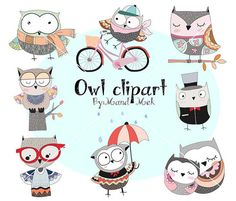 Cute owl Clipart Owl Clipartanimal clipart PNG file-300 by HandMek