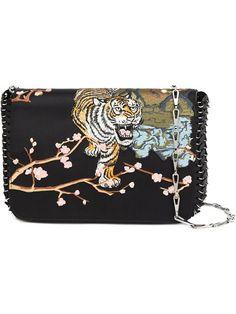 PACO RABANNE embroidered shoulder bag. #pacorabanne #bags #shoulder bags #leather #silk #