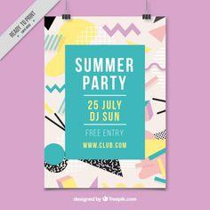 Memphis affiche de fête d'été Vecteur gratuit