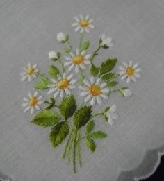 Darling Daisy Swiss Cotton Embroidered Hankie Hanky
